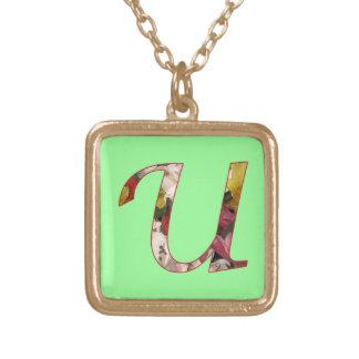Monogram Initial U Floral Design Necklace