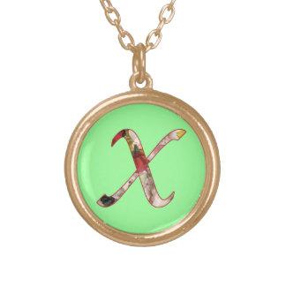 Monogram Initial X Floral Design Necklace