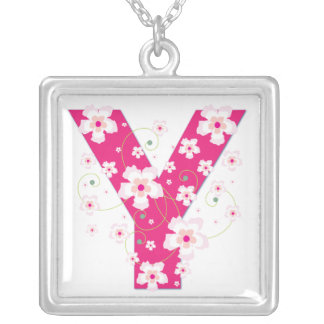 Monogram initial Y pretty pink floral necklace