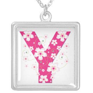 Monogram initial Y pretty pink floral necklace