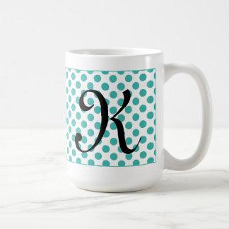 Monogram Initials Aqua Polka Dots Mug