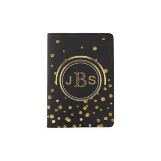 Monogram Initials | Black & Gold Glitter Confetti Passport Holder