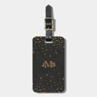 Monogram Initials | Black Leather Gold Confetti Luggage Tag