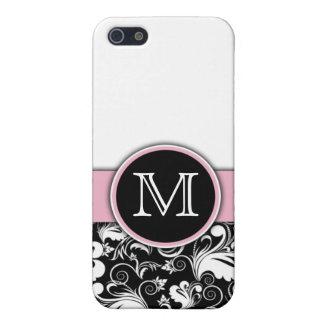 Monogram Initials Elegant Floral Pern Damask iPhone 5/5S Case