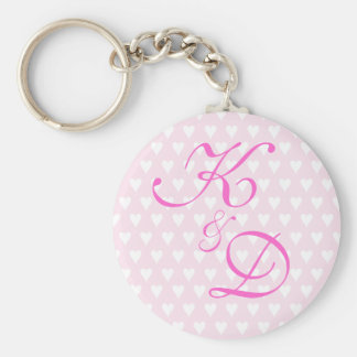 Monogram initials for engagement or wedding basic round button key ring