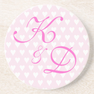 Monogram initials for engagement or wedding beverage coasters
