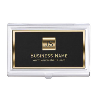 Monogram Initials Gold Framed Professional Dark Business Card Holder