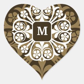 Monogram Initials Gold Heart Stickers