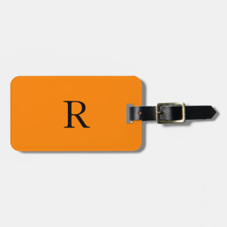 Monogram Initials Name Bright Orange Black Trendy Bag Tag