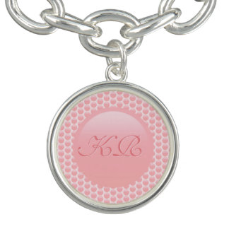 Monogram initials on rose pink polka dots