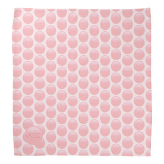 Monogram initials on rose pink polka dots bandana