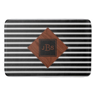 Monogram Initials | Rustic Wood Black White Stripe Bath Mats