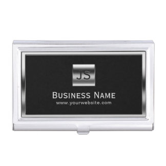 Monogram Initials Silver Framed Professional Dark Business Card Holder