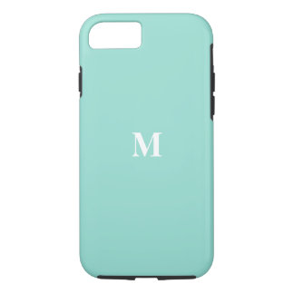 Monogram Initials Solid Eggshell Blue Color Cool iPhone 7 Case