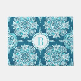 Monogram INNER MERMAID COMPASS Aqua Shell Moroccan Doormat