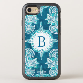 Monogram INNER MERMAID COMPASS Aqua Shell Moroccan OtterBox Symmetry iPhone 8/7 Case