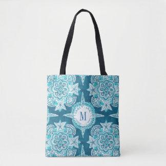 Monogram INNER MERMAID COMPASS Aqua Shell Moroccan Tote Bag