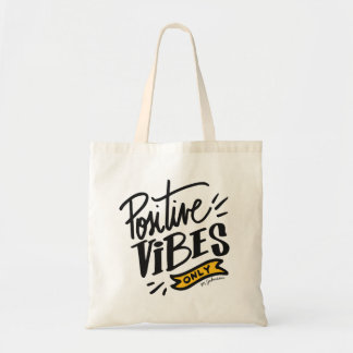 Monogram. Inspirational Quote. Positive Vibes Only Tote Bag