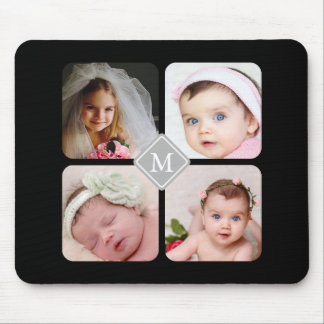 Monogram Instagram Photo Collage Custom Mouse Pad