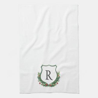 Monogram it! Christmas Crest Kitchen Towel