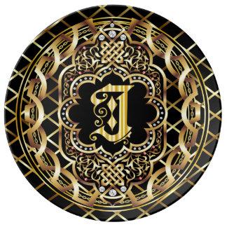 Monogram J IMPORTANT Read About Design Porcelain Plate
