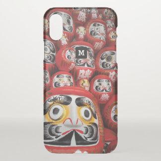 Monogram. Japanese Bright Red Daruma Dolls. iPhone X Case