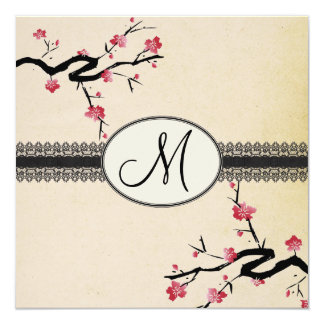 monogram japanese cherry blossom wedding card