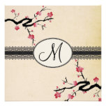 monogram japanese cherry blossom wedding announcement