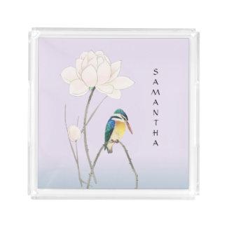 Monogram Japanese Vintage Kingfisher Square Tray