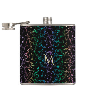 Monogram Jeweled Rainbow Music Notes Pattern Hip Flask