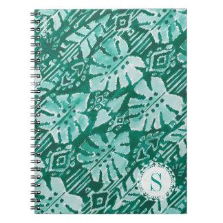Monogram JUNGLE IKAT Hawaiian Green Tropical Spiral Notebook