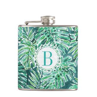 Monogram JUNGLE VIBES Green Tropical Monstera Hip Flask