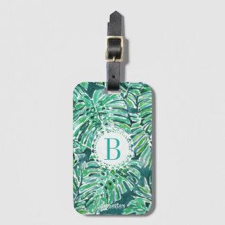 Monogram JUNGLE VIBES Green Tropical Monstera Luggage Tag