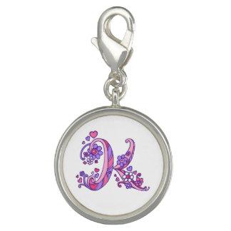 Monogram K art letter pink purple charm