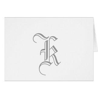 "Monogram ""K"" Card Old English Style_grey text"