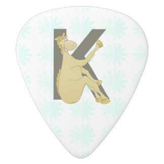 Monogram K Cartoon Pony Personalised White Delrin Guitar Pick