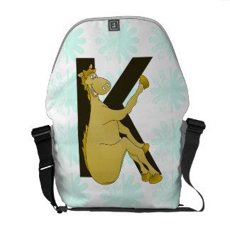Monogram K Cartoon Pony Personalised Courier Bags