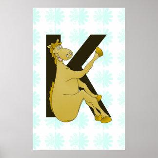 Monogram K Cartoon Pony Personalised Posters