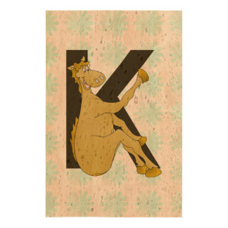 Monogram K Cartoon Pony Personalised Cork Fabric