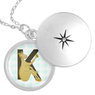 Monogram K Cartoon Pony Personalised Round Locket Necklace
