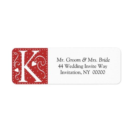 Monogram K Hearts Red White Wedding Colours Return Return Address Label