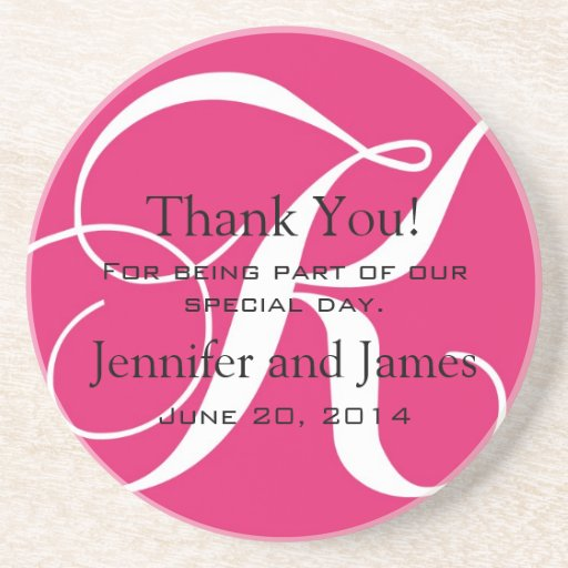 Monogram K Pink White Wedding Favour Coasters