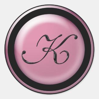 Monogram K Round Sticker