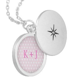 Monogram K sweethearts initials pink love hearts Round Locket Necklace
