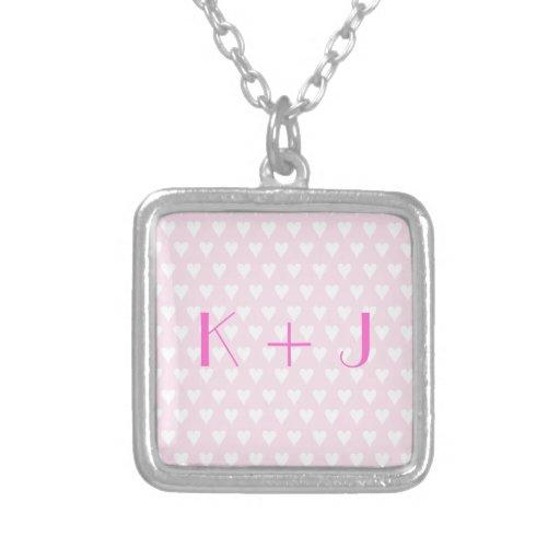 Monogram K sweethearts initials pink love hearts Pendant