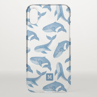 Monogram. Kawaii Cute Blue Whales. iPhone X Case