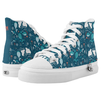 Monogram. Kawaii Cute Blue Whales & Sea Life. High Tops