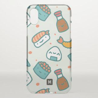 Monogram. Kawaii Cute Japanese Sushi Pattern. iPhone X Case