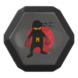 Monogram. Kawaii Cute Ninja for Nerd Geek. Black Bluetooth Speaker