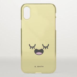 Monogram. Kawaii Cute Smiley Emoji Emoticon iPhone X Case